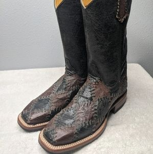 Cinch Black and Brown Patched Square Toe Boots 6 B